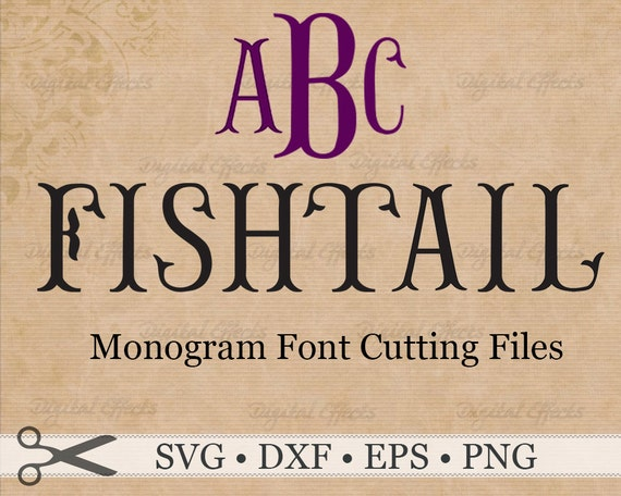 fishtail monogram svg files  eps  dxf   u0026 png files  fishtail font  svg font  silhouette studio