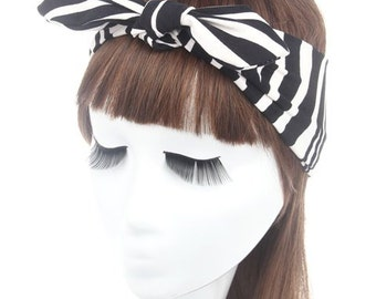 Trendy Bow Black Stripe Elastic Hairband For Women