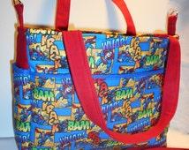 DC Comics Superman Diaper Bag, Superhero Baby Bag, Superman Tote, DC Comic Book Super Hero Diaper Bag, Superman Baby Bag, Comic book tote