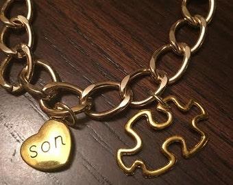 Gold autism bracelet