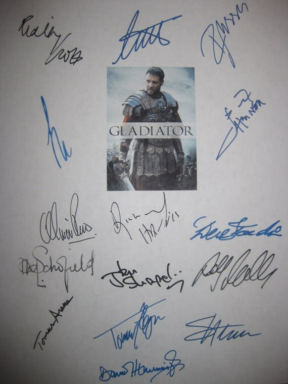 Gladiator Signed Film Movie Screenplay Script Autographs X15 Ridley Scott Russell Crowe Joaquin Phoenix Connie Nielsen Oliver Reed signature