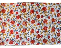 1 to 50 Yard Indian Block Printed Cotton Rose Floral Fabric