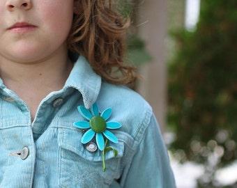Vintage Blue and Green Enamel Flower Pin 1960s Mod