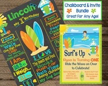 Boy's Surfing Invitation, Boy's Surfing Chalkboard Sign, Boy's Birthday Chalkboard Sign, Surfing Theme Party, Surfing party decor, invite
