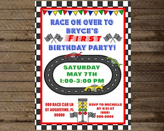 Race car invite, nascar invite, boy first birthday invite, race car birthday, race car party theme, race car invitation, nascar invitation