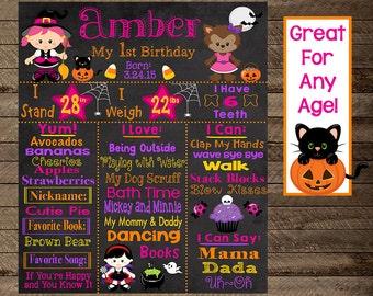 Halloween first birthday chalkboard, halloween theme first birthday, second, 3rd, costume birthday, pumpkin chalkboard, girl first birthday
