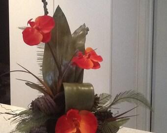 Deep orange orchids artificial flower arrangement