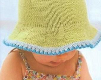 Baby Sun Hat, Knitting Pattern. PDF Instant Download.