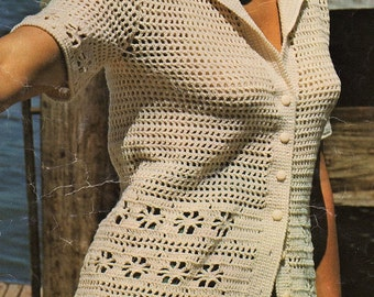 Ladies Short Sleeve Jacket, Crochet Pattern. PDF Instant Download.