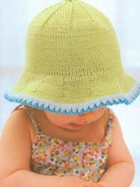 Knitting Pattern For Baby Sun Hat : Baby Sun Hat Knitting Pattern. PDF Instant Download.