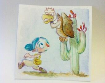 Small original watercolor - Illustration - painting - the desert