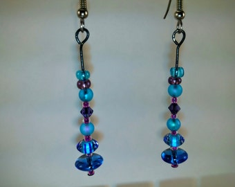 Bead Earrings - Handmade Purples, Blues, and Clear