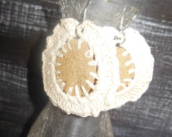 Crochet and fabric earrings