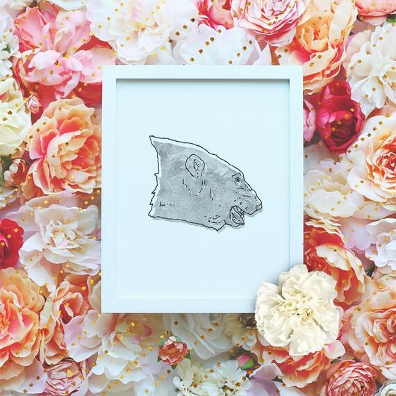 Bear printable poster, Nursery Printable Wall Art, Animal Printable, Modern Wall Art, Minimalist Poster, Watercolor Print DIGITAL FILE