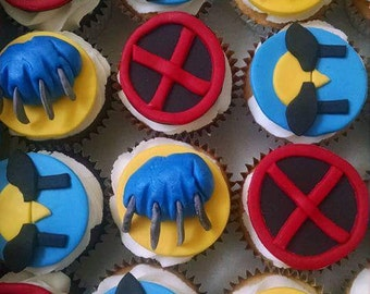 12 x-men Wolverine fondant cupcake toppers