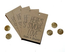 """Personalized Favor Tags """"Here's S'More Love"""" Kraft, White, or Ivory Paper"""