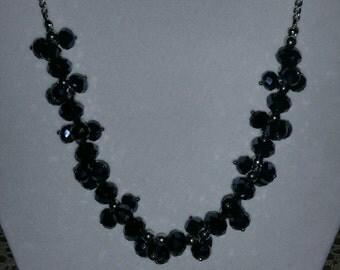 Deep steel blue cluster necklace