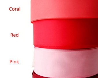 """1"""" Grosgrain ribbon, Craft supplies, Gross Grain Ribbon, Ribbon by the yard, Sewing supplies, Scrapbooking, Hairbow supplies, Red pallette"""