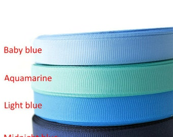 "1/2"" Grosgrain ribbon, Gross Grain ribbon, Ribbon by the yard, Scrapbooking, Sewing, Crafting, Hairbow, Supplies, Blue palette"