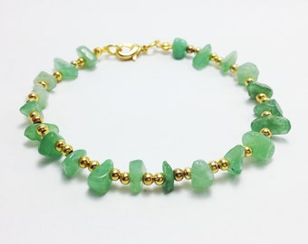 Jade anklet Green jade gravel with gold brass beads Woman anklet