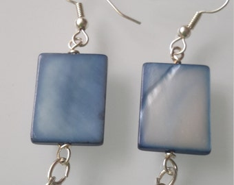 Blue mother of pearl bead with crystal cube earrings