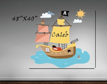 Pirate wall decal, Boys room wall decal,Bedroom wall decals, Pirate stickers, Pirate ship decal, Story book stickers, Baby room decals