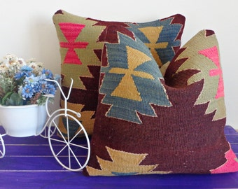 Pair of 2 - 40x40cm hand woven vintage pillows wool kilim pillow covers - 051a