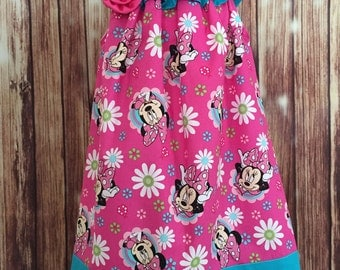 Minnie Sundress, Minnie Mouse sundress, Pink and blue Minnie summer dress
