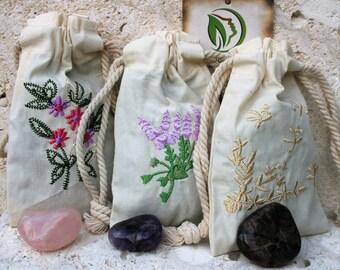 Floral Sachets and stones: Rose Sachet-Lavender Sachet-Jasmine Sachet-Gardenia Sachet- 3 x 5 cotton bag-embroidered cotton bag