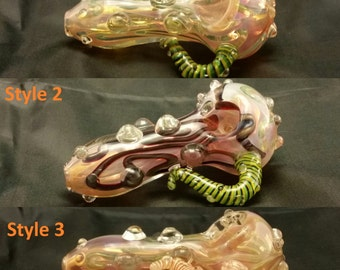 "3.5"" Pink Color Changing Glass Tobacco Spoon Pipe"