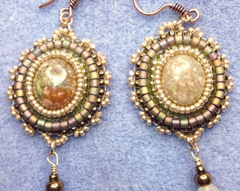 Earth Tone Earrings - Bead Ebroidery