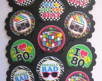 80's Decade Cupcake Toppers/Party picks item #1271