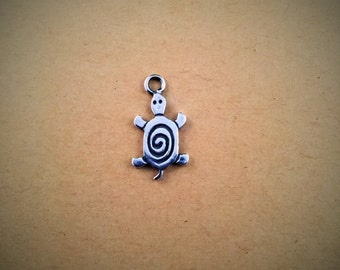 Turtle Charm Necklace, Silver Turtle Charm, Turtle Charm, Tribal Turtle, Sea Turtle