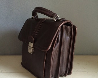 vintage, adorable little mini briefcase, dark brown leather, well worn, with scuffs, with attached compartment for credit cards and money
