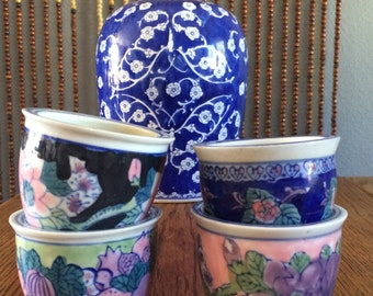 collection of chinese pots, 4, various colours