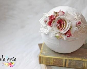 Valentines Collection C, Newborn halo headband, newborn tieback, newborn photography prop - RTS