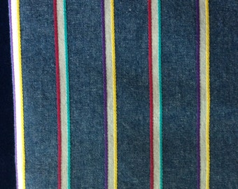 2 yards chambray fabric with woven stripes