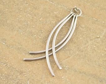 Dangle Curved Fringe Pendant Sterling Silver 5.1g Vintage Estate