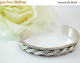 ON SALE Braided Rope Cuff Bracelet Sterling Silver 33.8g Vintage Estate