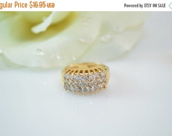 ON SALE Gold Plated Prong Set CZ Pointed Chevron Band Ring Size 6 Sterling Silver 4g Vintage Estate