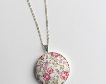 liberty Print Pendant - Eloise Pendant - liberty of london necklace - sewers gift - crafters Gift - pink pendant