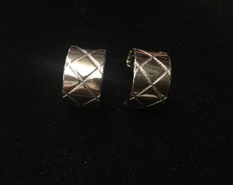 Vintage Hoop Earrings, Silvertone, Diamond Design, Pierced