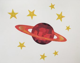 Planet and Stars Wall Stickers, Red Planet Decal, Red Planet, Space Wall Stickers, Planet Wall Stickers, Boys Room, Space Art, Space Mural