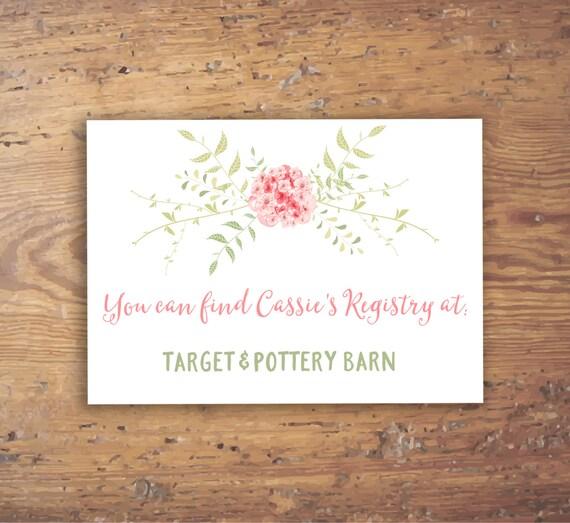 Custom Printable Cherry Blossom Registry Insert Card Wedding