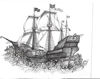 B&W Tall Ship