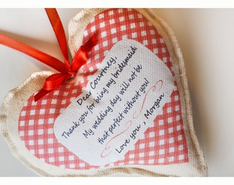 Personalized Bridesmaid Gift heart,Bridesmaid Gift Card,hanging fabric heart ,personalised heart, heart wishes, fabric heart , wedding heart