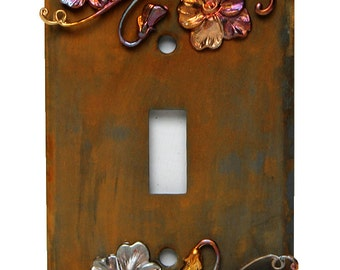 Rustic single toggle light switchplate cover with flowering vines charms in iron, rust and brass