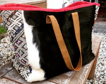 Cowhide Tote Bag with Berber Vintage Kilim Rug - Large/Handmade/Moroccan/Ethnic/Boho / FREE  shipping/ Mothers day Gift