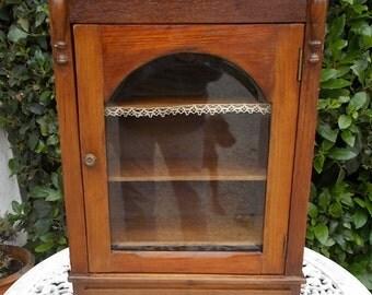 antique French wall cupboard, glazed cupboard