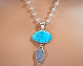 Sleeping Beauty Turquoise Purple Drusy Pendant On Moonstone Rosary Sterling Silver Necklace